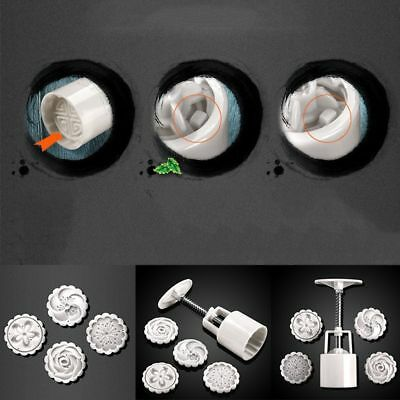 4 Stamps 50g 5Pcs/lot Round Baking Tools Cookie Pressing Hand MoonCake Cutter