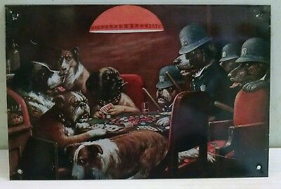 Dogs Playing Poker w Dog Police busted! classic on Vintage smaller metal Sign