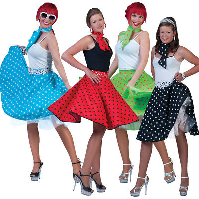 Adult Rock and Roll Skirt + Neck Scarf Womens 1950s 1960s Fancy Dress Grease