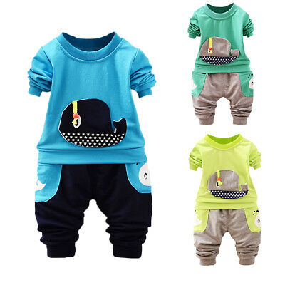 Cute Toddler Infant Baby Boys 3D Whale Star Tops+ Pocket Pants Clothes Sets UK