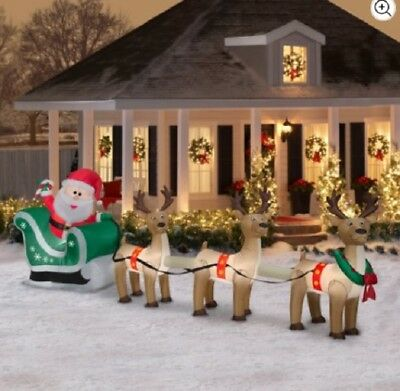 Inflatable Santa Sleigh and Reindeer Scene 12.5ft wide by Gemmy