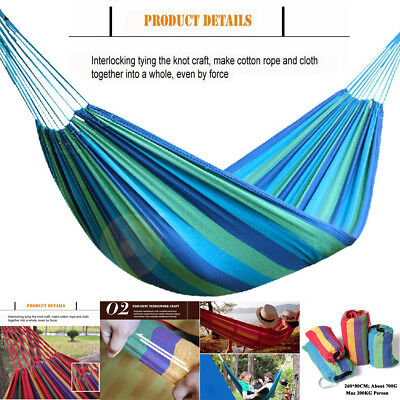 New 260*80CM GARDEN PATIO PORCH HANGING ROPE SWING CHAIR SEAT HAMMOCK BENCH BED