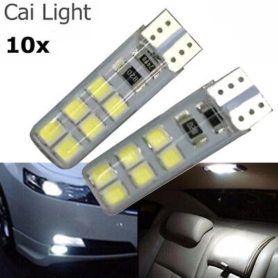 10PCS  T10 194 W5W COB 2835 SMD 12LED Lamp Car Canbus Super Bright License Light