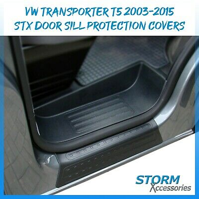 Vw Transporter T5 2003-2015 Door Entry Guard Sill Covers In Black - 2Pc Set