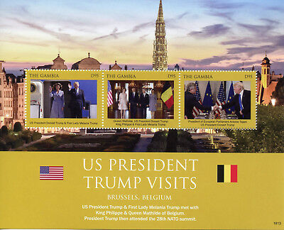 Gambia 2018 MNH Donald Melania Trump Visit Belgium King Philippe 3v M/S Stamps