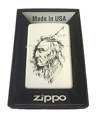 Zippo Custom Lighter Picture NATIVE AMERICAN INDIAN CHIEF Art Sketch White Matte