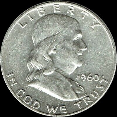 "A 1960 P Franklin Half Dollar 90% SILVER US Mint ""Average Circulation"""