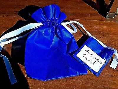 "Blue promotional marketing gift bags business card holder 8""x 11.25"" case of 100"