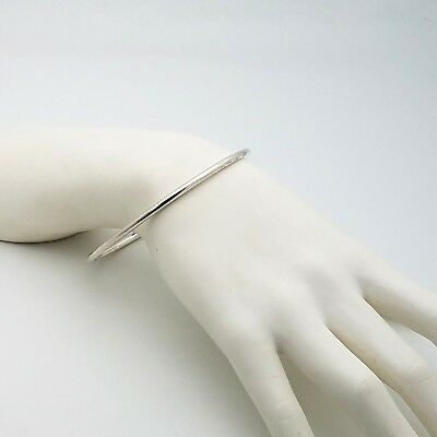 Sterling Silver 925 Smooth 3 mm Round Wire Bangle Bracelet Mexico 9' inch