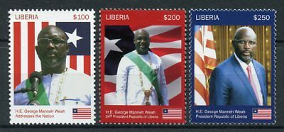 Liberia 2018 MNH President George Weah 3v Set Politicians Flags Football Stamps