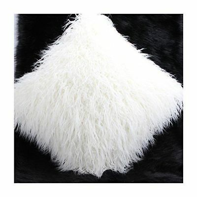 """White Faux Mongolian Fur Cushion Cover With Faux Suede Back 60X60Cms 24""""X24"""""""