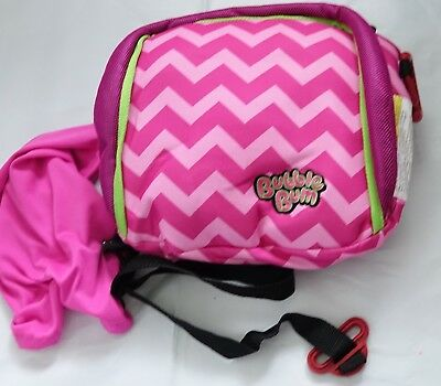 BubbleBum Backless Inflatable Travel Booster Car Seat Pink Chevron
