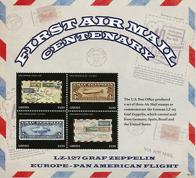 Liberia 2018 MNH 1st Airmail Graf Zeppelin LZ-127 4v M/S Aviation Stamps