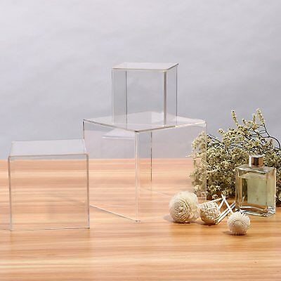 3 x Acrylic Display Box Clear Show Case Dustproof Tray Stand Protective Cube Set