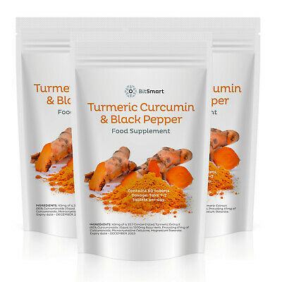 Turmeric Curcumin PLUS Black Pepper Pills Tumeric Tablets - Arthritis - Vegan UK