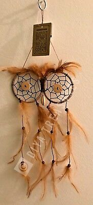 Small Brown Owl Dream Catcher FOR Car or Wall Decor Feathers and Beads