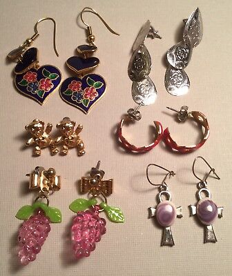 Six Pair Lot Of Lovely Vintage Pierced Earrings Pretty Styles And Colors