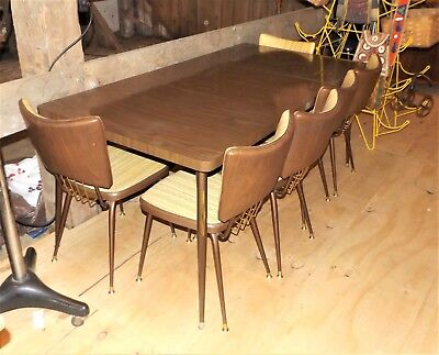 Vintage Midcentury Modern Formica Kitchen Table And 6 Chairs