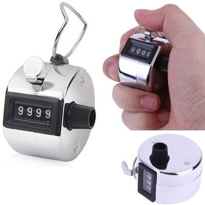 Tally Counter Hand Held Clicker 4 Digit Chrome Palm Golf People Counting Tasbeeh
