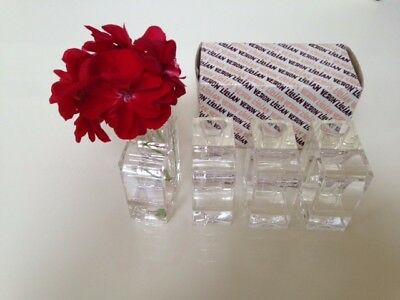Lillian Vernon Napkin Holders With Bud Vases Clear Lucite Acrylic