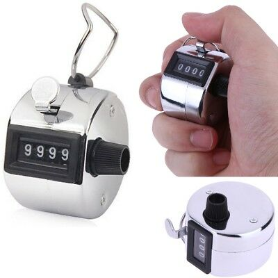 4 Digit Tally Counter Hand Held Clicker Chrome Palm Golf People Counting Tasbeeh