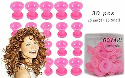 30Pcs Silicone Rollers Hair Curlers Diy Hair Style  NoHeat Styling 15Pcs X Big