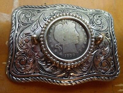 1908 Barber Half Dollar Silver Belt Buckle Western Antique Vintage