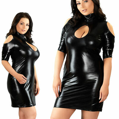 "Queen Size Wetlook Minikleid XL XXL 3XL 4XL Kleid Stehkragen Party ""Amanda+"