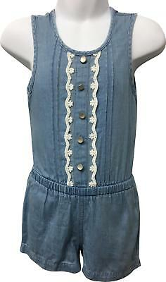 PRE-OWNED Girls Young Dimension Blue Denim Look Playsuit Size 4-5 Yrs EK214