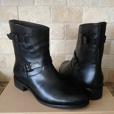 2a2717f1c7c UGG KILMER BLACK Water-resistant Leather Combat Short Boots Size 9.5 ...