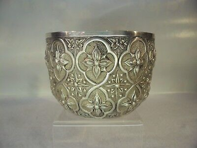 Victorian Gothic Pattern Solid Silver Bowl London 1879
