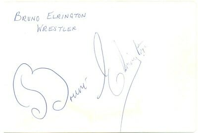 Bruno Elrington signed autograph album page 1960s British wrestler The Avengers