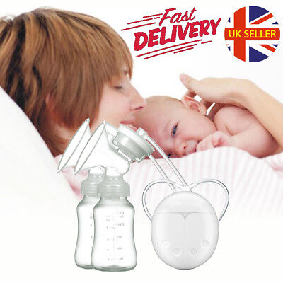 Electric Breast Pump Mute Automatic Dual Bottle Baby Infant Feeding With USB UK