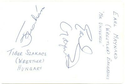 Earl Maynard & Tibor Szakacs signed autograph album page 1960s wrestlers/actor