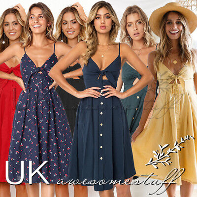 UK Womens Summer Cut Out Party Dress Ladies Button Through Smock Dress Size 6-14
