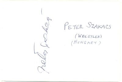 Peter Szakacs signed autograph album page 1960s Hungarian wrestler/actor Snatch