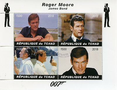 Chad 2018 CTO James Bond Roger Moore 007 4v M/S Movies Film Stamps