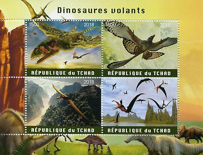 Chad 2018 CTO Flying Dinosaurs 4v M/S Dinosaur Stamps