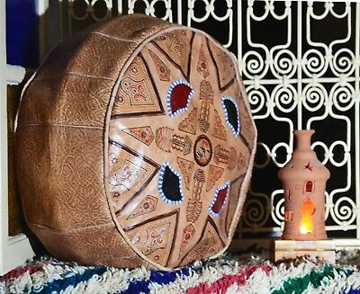 Moroccan Pouf Handmade 100% leather and Natural Ottoman Vintage old antique