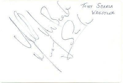 Tony Scarlo + Alan Skirton signed autograph album page 1960s wrestler/footballer