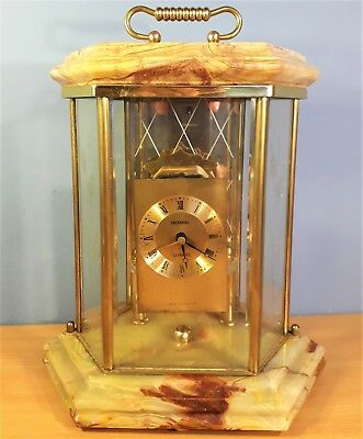 Vintage Hexagon Onyx and Glass Anniversary Clock Case