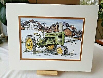 Don Fusco Ltd Ed Print John Deere Tractor Winter Scene SIgned Numbered Matted
