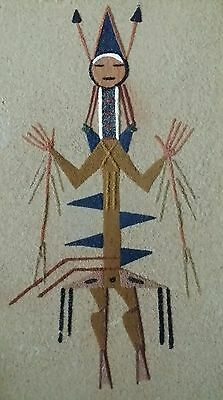 """AUTHENTIC JAMES NAVAJO SAND PAINTING """"Horned Toad"""" Signed & Dated 1971"""