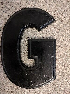 """Vintage Wagner Sign Company Cast Aluminum 10"""" Letter """"G"""" Movie Marquee RARE"""
