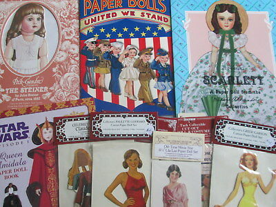 VINTAGE PAPER DOLLS SCARLETT UNCUT Mme. Alexander Military Movie Stars Tuck LOT