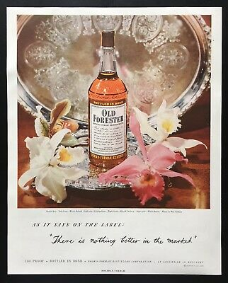 1950 Old Forester whisky bottle orchids on silver tray whiskey vintage print ad