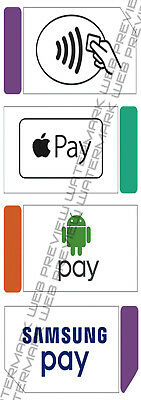 apple pay,samsung pay,android pay,tap pay decals,stickers,credit card ( 3 PACK )