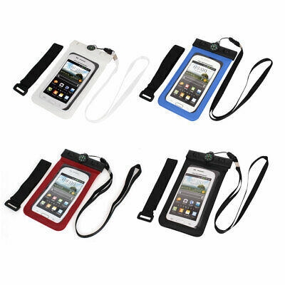 "Waterproof Bag Holder Pouch for 4.5"" Mobile Phone w Neck Strap Compass"