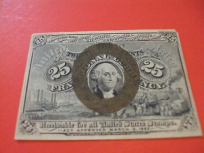 1863 25 CENT U.S. FRACTIONAL CURRENCY NOTE civil war