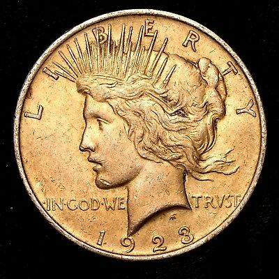 1923 P ~**ABOUT UNCIRCULATED AU**~ Silver Peace Dollar US Old Rare Coin! #R66